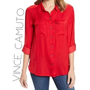 Vince Camuto 100% silk red button down blouse L